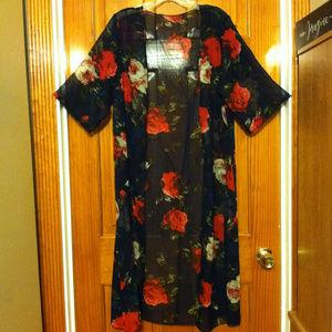 Blooming Roses Sheer Chiffon Kimono Maxi